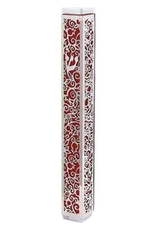 Lasercut Pomegranate Mezuzah - Red With Silver Overlay