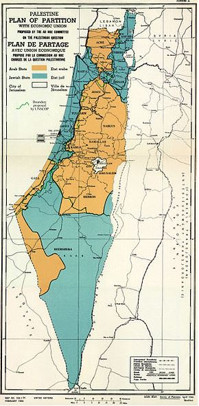 UN Palestine Partition Versions 1947 - Israel map 1947