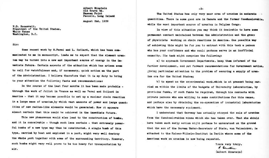Einstein–Szilárd letter to United States President Franklin D. Roosevelt