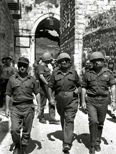 Chief of Staff Lt. Gen. Yitzhak Rabin in the entrance to the old city of Jerusalem during the Six Day War, with Moshe Dayan and Uzi Narkiss.