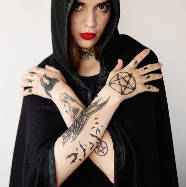 Pentagram and star of David tattoo