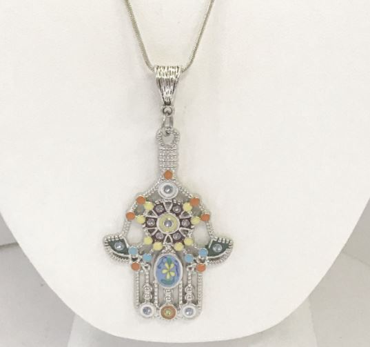 silver hamsa necklace uk