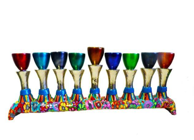 Colorful modern menorah