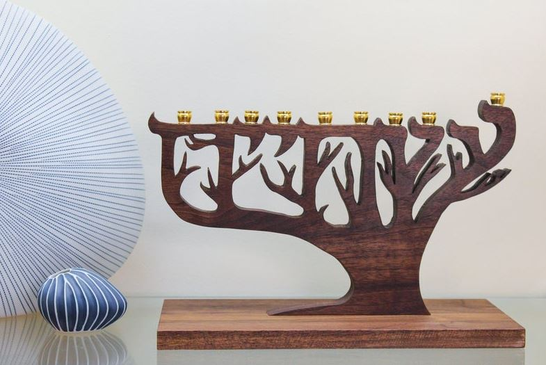 Walnut Wood Tree of Life Hanukkah Menorah buy online
