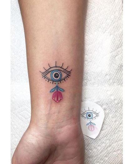 Evil-eye tattoo on the wrist