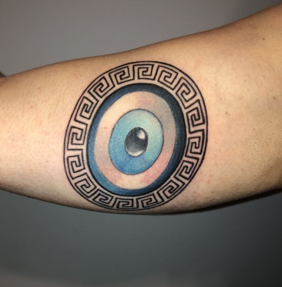 Greek evil eye tattoo