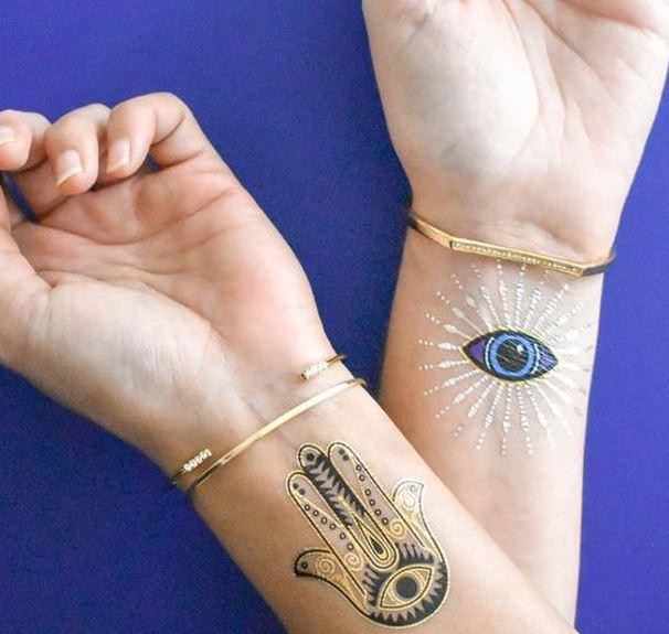 evil eye and hamsa temporary tattoo