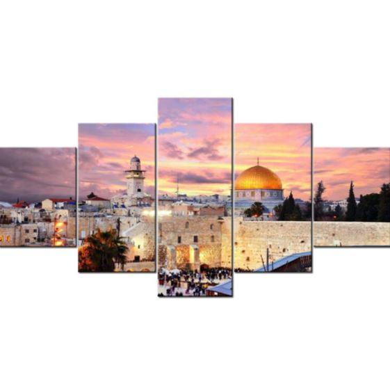 Jerusalem Poster Prints on Canvas 5 Pcs
