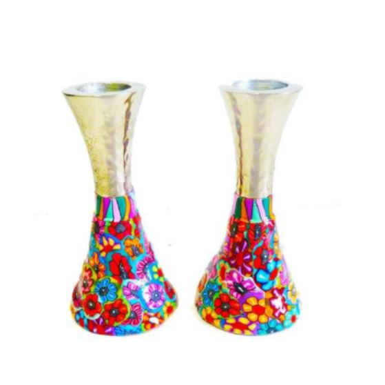 Pair Of colorful Shabbat Candlesticks
