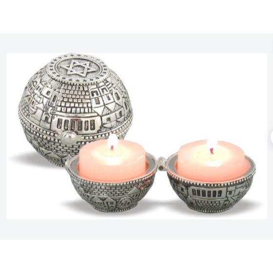 Shabbat Candlesticks - Metal Travel Size