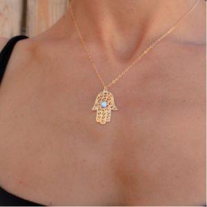 gold Hamsa necklace