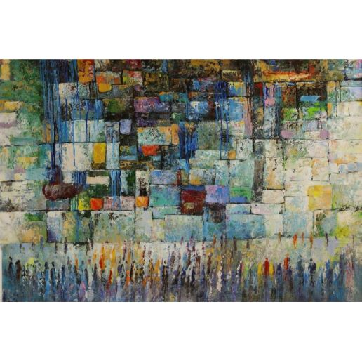 western wall in blue abstract Judaica Art PRINT On Canvas