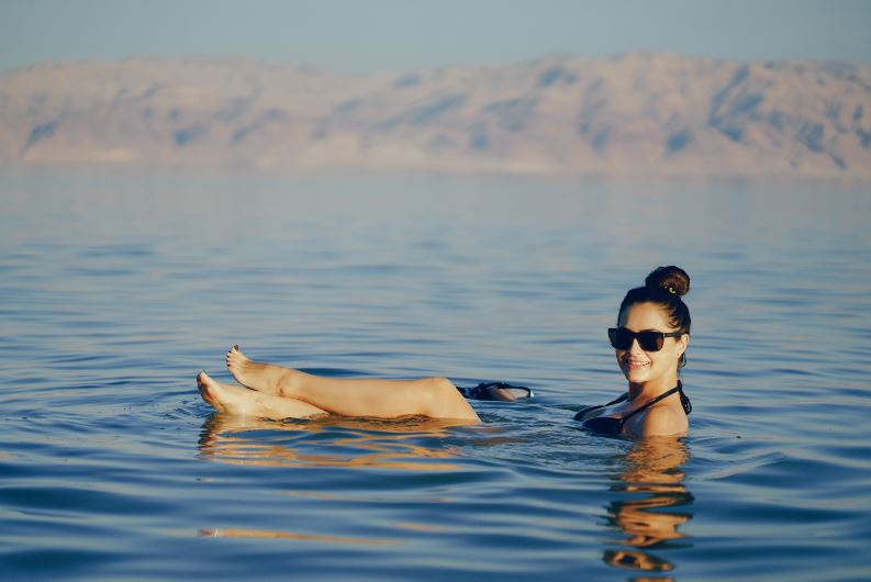Floating on Dead sea