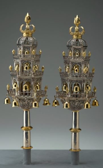 Judaica art galleries - NCMA art Gallery - Pair of Torah Finials
