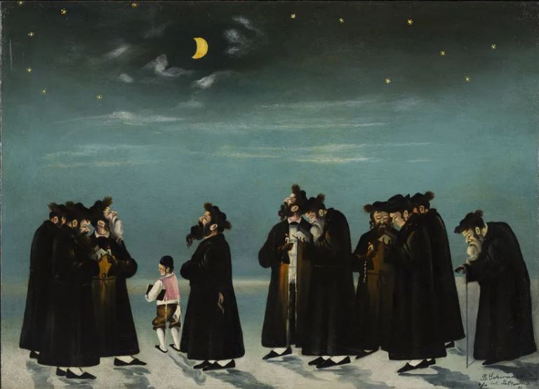 Judaica art galleries - the Jewish museum - Benzion Sokiranski - blessing of the new moon-min