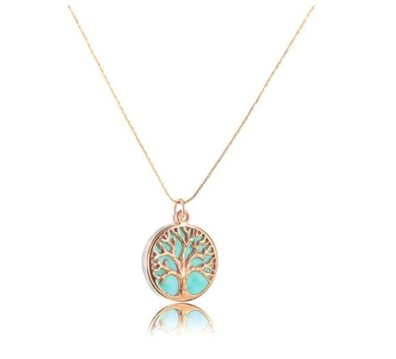 Birthday Tree of Life Necklace 18k Gold filled