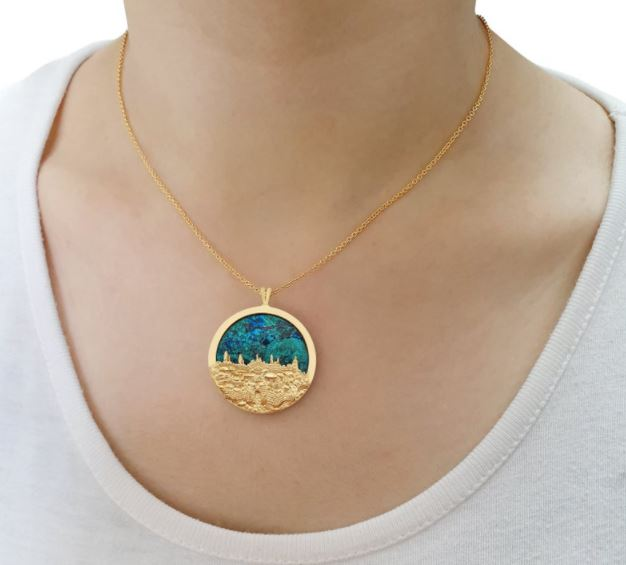 Jewish gift ideas - Eilat Stone 14k Gold Jerusalem Necklace