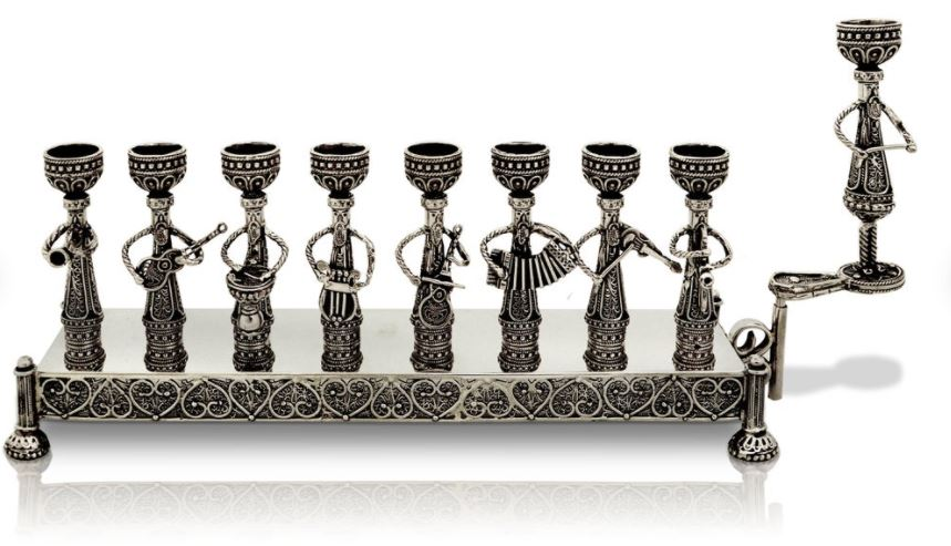 Large Handmade Oxided 925 Sterling Silver Menorah