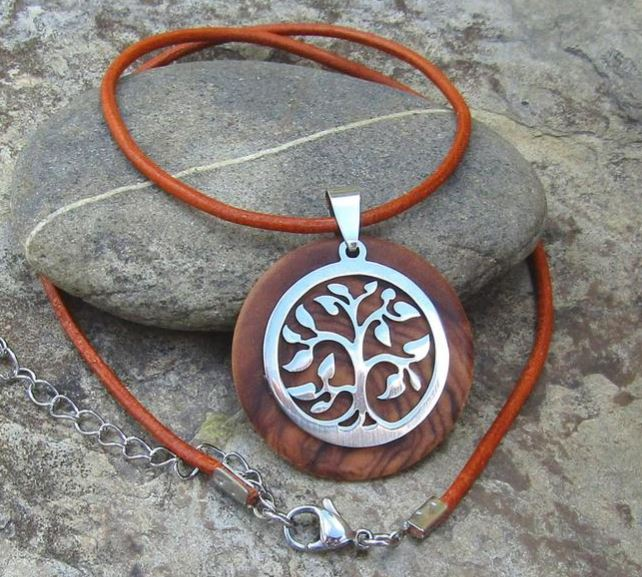 Necklace olive wood Tree of Life