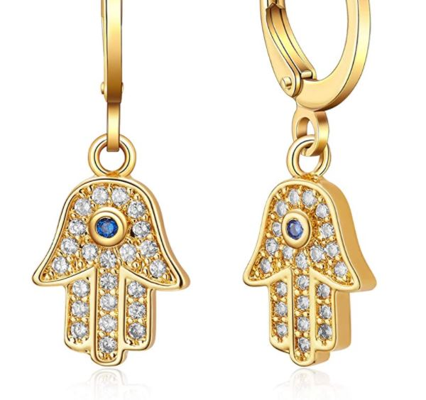 Small Hoop Hamsa Earrings